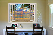 Beach Sunset Window View Repositionable Color Wall Sticker Wall Mural 3 FT