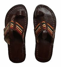Leather Moroccan Sandals Shoes Rasta Colours Hand Made Quality Leather (EU43)