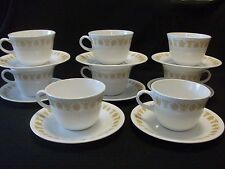 CORELLE BUTTERFLY GOLD SET OF 8 EACH CUPS AND SAUCERS 16 PIECES PYROCERAM