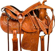 "USED 16"" BROWN TOOLED LEATHER WESTERN COWBOY PLEASURE TRAIL HORSE SADDLE TACK"
