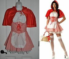 Sexy LITTLE RED RIDING HOOD Costume Dress+Cape sz M White Gingham