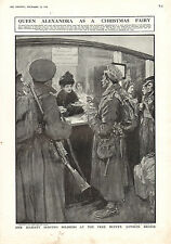 1915 WWI PRINT ~ QUEEN ALEXANDRA HER MAJESTY SERVING SOLDIERS FREE BUFFET LONDON
