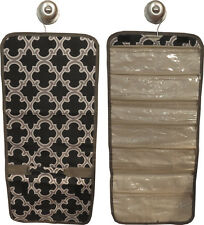 Hanging Travel Jewelry Roll (black/gray quatrefoil) great for travel or home!