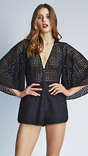 ALICE MCCALL Walk Away Playsuit Black Size 4 Orig. $340 NWT