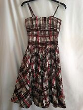ELEVENSES ANTHROPOLOGIE  BROWN PLAID PRINT DRESS SIZE 2 NWT
