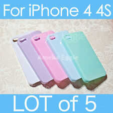 5pc Pastel Cute Candy Color Case For iPhone 4 4s Hard Plastic DIY Decora LOT