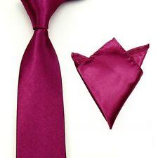 0528 Men Satin Solid Color Necktie Tie Hanky Handkerchief Pocket Square Set
