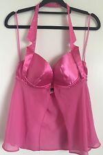 Satén Rosa Frederick's Of Hollywood falda transparente con motivo de Cuello Halter Babydoll medio