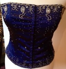 Embroidered sequin bodice Royal  midnight Navy Blue 12 Satin BNWT corset