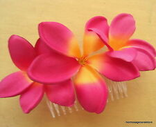 Triple Magenta Plumeria Silk Flower Hair Comb, Bridal,Luau,Dance,Wedding,Prom