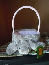 BUNNY EASTER BASKET NWT SOFT FURRY FLUFFY GREY LUCKY THE RABBIT BARNYARD BABIES