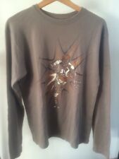"Cotton Top Brown Rugby Cartoon Long Sleeve T-Shirt Cotton Size m 42""   T1730"