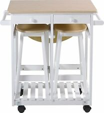 Kitchen Trolley and 2 Chairs/Stools White and Wood