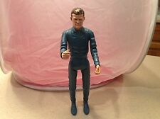 """Johnny West Marx Action Figure Johnny West Series 11.5"""" Tall Vtg Blue w/ Scarf"""