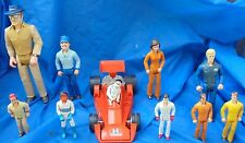Tonka Play People Action Figure Lot 1979 - 1980's Mechanic AJ Foyt + Race Car
