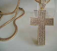 "GOLD FINISH HIP HOP BLING CROSS PIECE PENDANT &  Complementary 36"" FRANCO CHAIN"