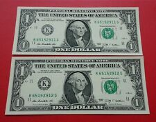 Willie: 2 pcs United State 1 dollar unc running number