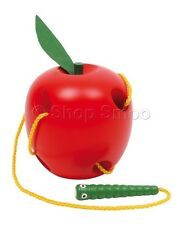 Wooden Lacing Threading Apple - Educational Toy for Young Children Kids Boy Girl