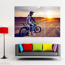 UAE Desert Motocross Motorcycle Sunset Poster Giant Wall Room Decor Art