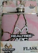REALTREE APC PINK CAMO FABRIC WRAPPED STAINLESS STEEL HIP FLASK 6OZ HUNTING GIFT
