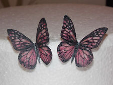 12 PRECUT Pink Edible wafer/rice paper Butterflies cake/cupcake toppers(6)