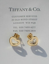 Tiffany & Co 18ct 18k Oro Orecchini a Bottone Cuore LINK