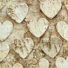 4x Single Table Party Paper Napkins for Decoupage Decopatch Craft Heart  Birch