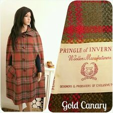 Vintage Pringle of Inverness Tweed Check Wool Long Wool Cape Coat M L 14 16 42
