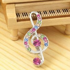 #P476K New 4cm Treble Clef Scarf Pin Brooch Crystal Great Music Note Collection