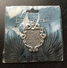 """Dragon Age GREY WARDEN HERALDRY BADGE Pin 2.6"""" SILVER Official & Sealed NEW"""