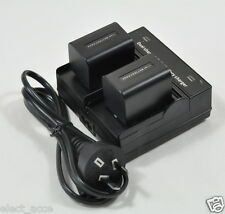 2x 3A Battery+Dual Charger fr Sony NP-FH30 FH40 NP-FH50 NP-FH60 NP-FH70 NP-FH100