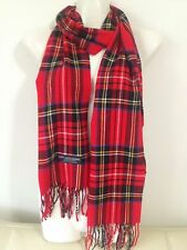100% CASHMERE SCARF PLAID DESIGN RED MADE IN SCOTLAND SUPER SOFT