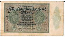 GERMANY BANKNOTE 500000 P88a 1923 VF Series A serial no back and front