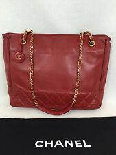 """Vintage Chanel 10"""" Tote Red Quilted and Smooth Calf Chain Handle Italy Gold Tone"""