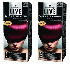 2 x Schwarzkopf Live Salon Permanent 5-89 Dark Ruby Red Brand New