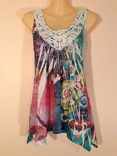 Zen Garden Women's Size S Multicolour Top with Flowers & Crochet Finish