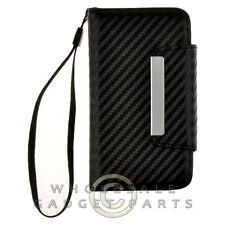 Apple iPhone 4/i4S Wallet Pouch Carbon Fiber Black Cover Shell Protector Guard