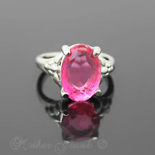 LARGE CANDY PINK TINT SILVER PLATED FASHION DRESS WOMENS GIRLS RING SIZE 7 N