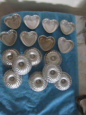 LOT OF 16 MINI BUNDT RING HEART CAKE PANS  -- 8 BUNDT AND 8 HEARTS
