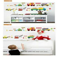 Cartoon Construction Site Trucks Removable Wall Sticker Mural Kid Decor Decal MT