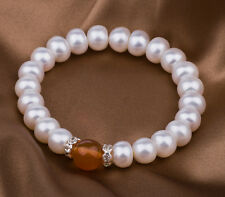 GORGEOUS GENUINE WHITE FRESHWATER PEARL AND RED AGATE CRYSTAL SPACER BRACELET
