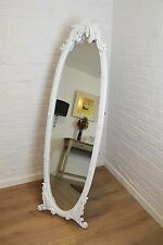 5ft5 x 1ft7 Antique Ornate White Oval Cheval Mirror