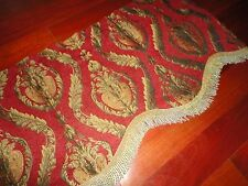 STYLE MASTER CHENILLE RED GOLD MEDALLION PAISLEY SCALLOPED VALANCE 57 X 18