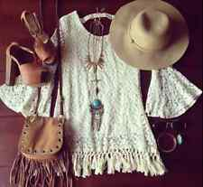 Boho Hippy Lace Crochet Festival Blouse Top Shirt Gypsy Coverup Knit Bohemian