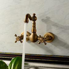 Vintage Antique Brass Wall Mount Bathroom Tub Sink Swivel Faucet Tap