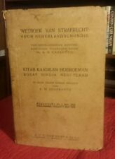 Criminal Law Governing Dutch Occupied Indonesia WETBOEK VAN STRAFRECHT VTG 1931