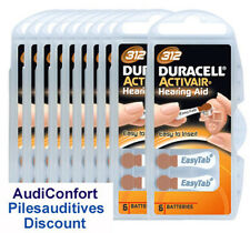 60 piles auditives Duracell ActivAir DA312 / pile auditive PR41 appareil auditif