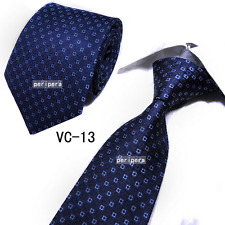 Classic Checks Light Dark blue grid JACQUARD WOVEN 100% Silk Men's Tie Necktie