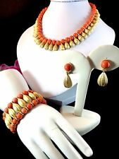 CROWN TRIFARI GOLDTONE CORAL BEAD EGYPTIAN REVIVAL NECKLACE BRACELET EARRING SET