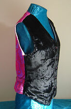 Black velvet ladies waistcoat pink purple brocade back UK12 S/M  steampunk party